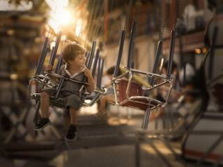 child, boy, carousel, entertainment, childhood