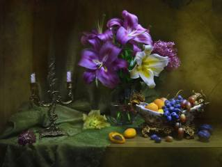 Валентина Колова, still life, still life, fabric, curtain, vase, flowers, Lily, candles, candlestick, fruit, grapes, apricots