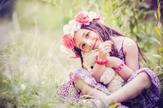 silvia dimitrova, child, girl, wreath, flowers, nature, summer, grass, toy