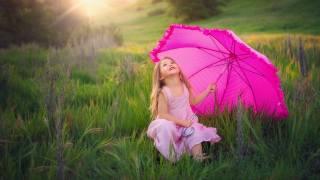 child, girl, umbrella, nature, grass, summer
