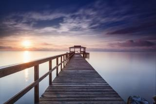 moře, nebe, slunce, mraky, západ slunce, svítání, večer, ráno, Molo, molo