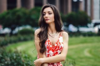 holka, bruneta, model, pohled, šaty