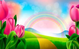 graphics, art, nature, spring, hills, road, flowers, tulips, rainbow, bokeh