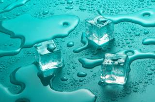water, glass, drops, ice, cubes