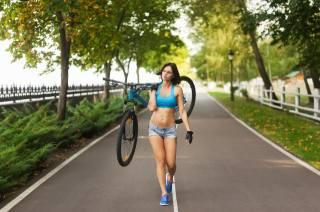 девушка, велосипед, спорт