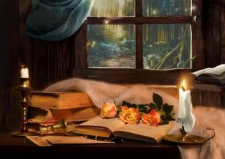 Валентина Колова, натюрморт, окно, книги. цветы, розы, свечи, ткань, ручка