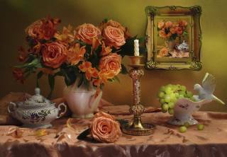 Валентина Колова, still life, tablecloth, sugar bowl, pitcher, flowers, rose, Alstroemeria, the vase, the bunch, berries, grapes, mirror, candlestick, Candle