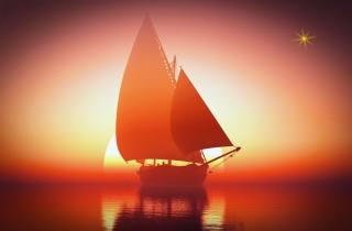 море, небо, парусник