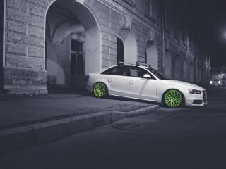 the city, Audi, night, car, tuning