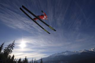 skier, flight, the sky, the sun, mountains, sports