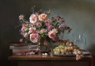 table, vase, flowers, rose, grass, books, glasses, plate, berries, grapes, pitcher, water, fabric