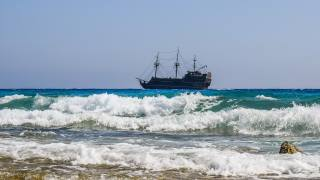 ship, sea, surf, foam