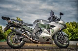 kawasaki Zzr 1400, мотоцикл, деревья