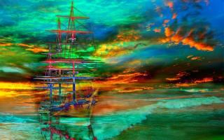 закат, море, волны, парусник, 3d