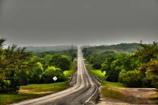 road, trees, Texas