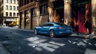синий, Porsche, Панамера, город, улица