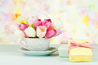 чашка, квіти, тюльпани, коробки, подарунки