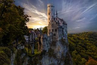 Германия, замок, Лихтенштейн, Lichtenstein, горы, Леса