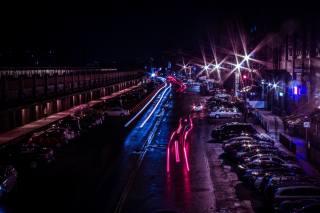 lights, night, Car, street, road, the city