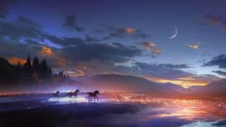 горы, лошади, луна, ночь, свет, арт