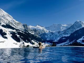 Кембрия, Отель, Швейцария, панорамный бассейн, бассейн, зима