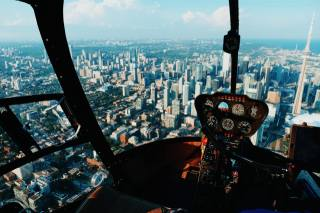 Helicopter, height, building, Toronto, CN Tower, Canada, skyscrapers, Robinson R44 Clipper II, the city