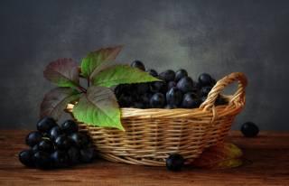 листья, виноград, корзинка, ягоды