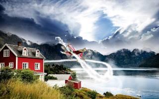 Норвегія, літак, політ, гори, хмари