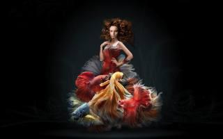дівчина, рибки, акваріум, фон