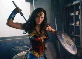 Обои голубые глаза, brunette, movies, actress, Гал Гадот, Warrior, Удивительная женщина, Комиксы DC, comics, Dceu, clothing, costume, вымышленный персонаж, Fantasy