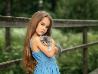 ребёнок, девочка, платье, взгляд, Животное, котенок, детеныш, природа, лето