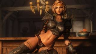 Девушка-воин IИсла в таверне, персонаж игры The Elder Scrolls V, обои для рабочего стола