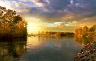 nature, landscape, autumn, river, Forest, clouds