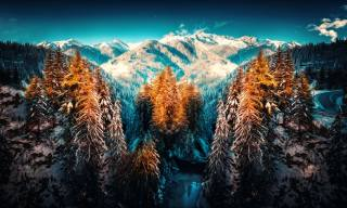 зима, снег, природа, горы, Режим HDR