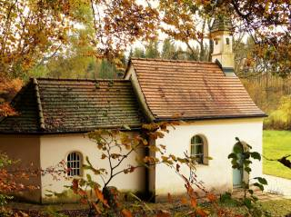 часовенка, nature, autumn, Composition