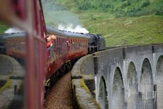 поезд, состав, отражение, мост, природа