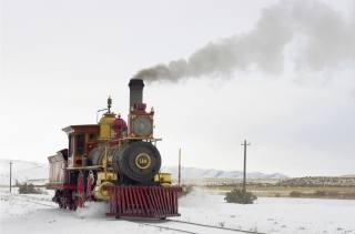 паровоз, ретро, пейзаж, зима