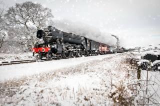 паровоз, зима, снег