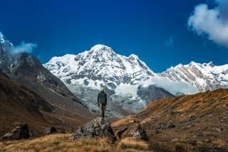 природа, сніг, гори, чоловік