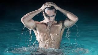 вода, капли, взгляд, мужчина, брюнет, торс