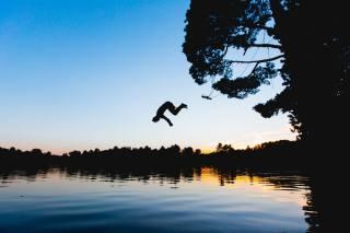 фото, озеро, вечер, прыжок, лето, отдых