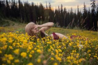 девушка, лето, поле, трава, природа, лес, цветы