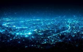 компьютерные сети, сетевые технологии, голубые неоновые линии, современный город, сетевые концепции, the city