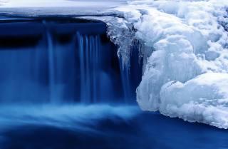 řeka, led, modrá, jaro