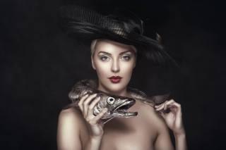 portrét, klobouk, рыбы история, štika, make-up