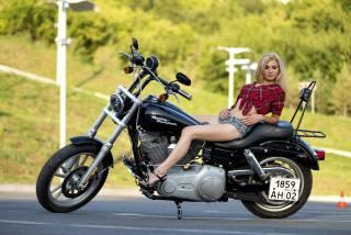мотоцикл, Harley Davidson, дівчина, блондинка, байк