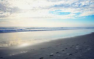 moře, ráno, pláž