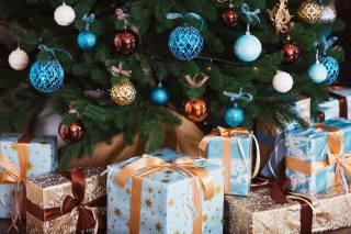 свято, Новий рік, Різдво, ялинка, Іграшки, коробки, подарунки