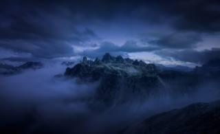 příroda, hory, mlha, mraky, vrchol, modrá, Alpy