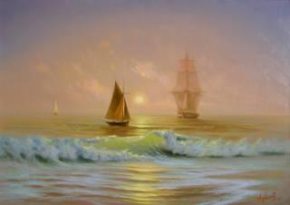 александр милюков, рассвет на, море, парусник, картина